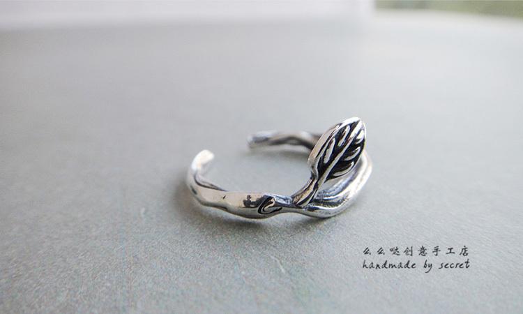 泰银树枝小叶戒指