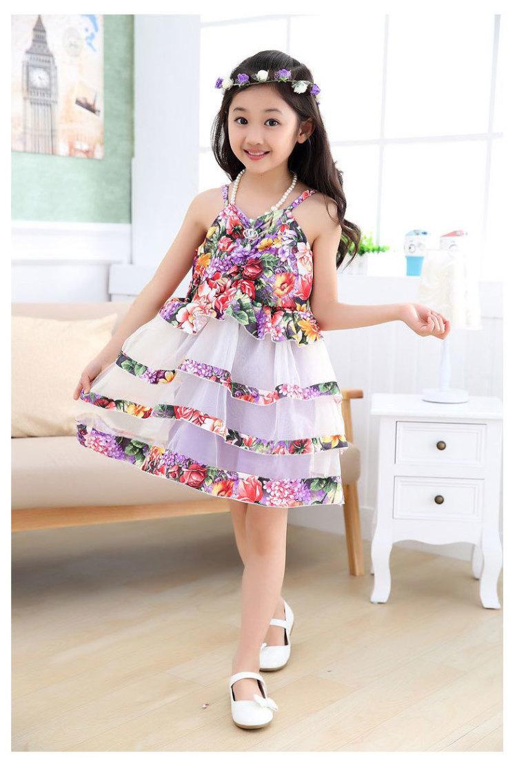 童装女孩连衣裙2016年夏季新款儿童舞蹈裙中大童公主吊带裙子
