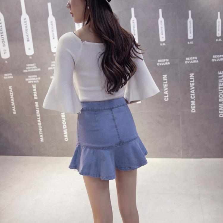 【高腰排扣牛仔半身鱼尾裙】-衣服-半身裙