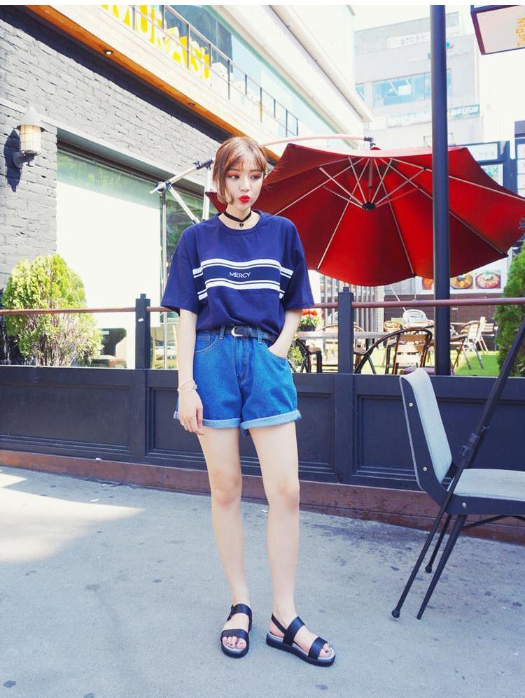 韩国ulzzang原宿bf风圆领t恤】-衣服