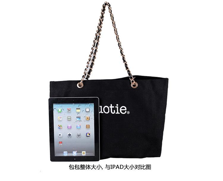 【优尚】韩版简约印花链条帆布字母单肩包pockymidi图片