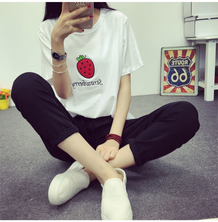 夏季新款韩国可爱草莓刺绣字母闺蜜装宽松短袖t恤女
