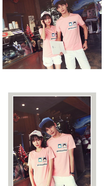 【【龍先生】情侶裝卡通印花頭像亮色圓領棉美女男孩