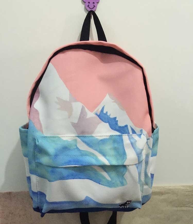 韩国新品风景刺绣双肩包休闲男女情侣背包小清新学生书包电脑包