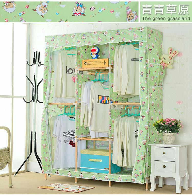 【优质棉布 方形木棍】简易实木衣柜布衣柜双人棉布大号衣柜衣橱