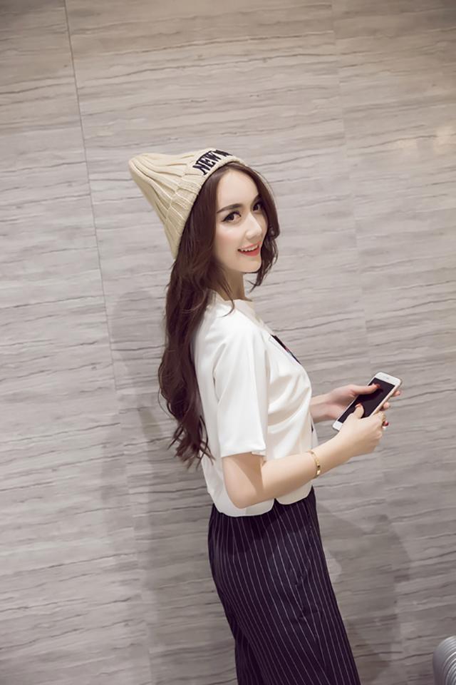 【2016夏季欧美头像印花圆领短款短袖t恤】-衣服