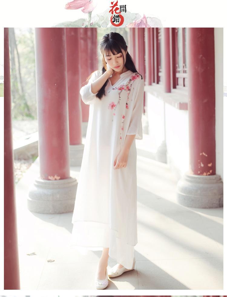 笑春风 中国风手绘 气质棉麻立领中长袖复古连衣长裙 女