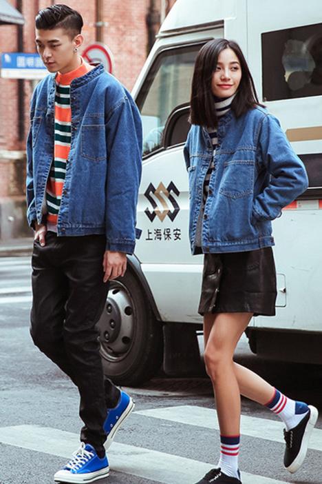2016春季韩版新款bf风情侣装小立领牛仔外套夹克 班服