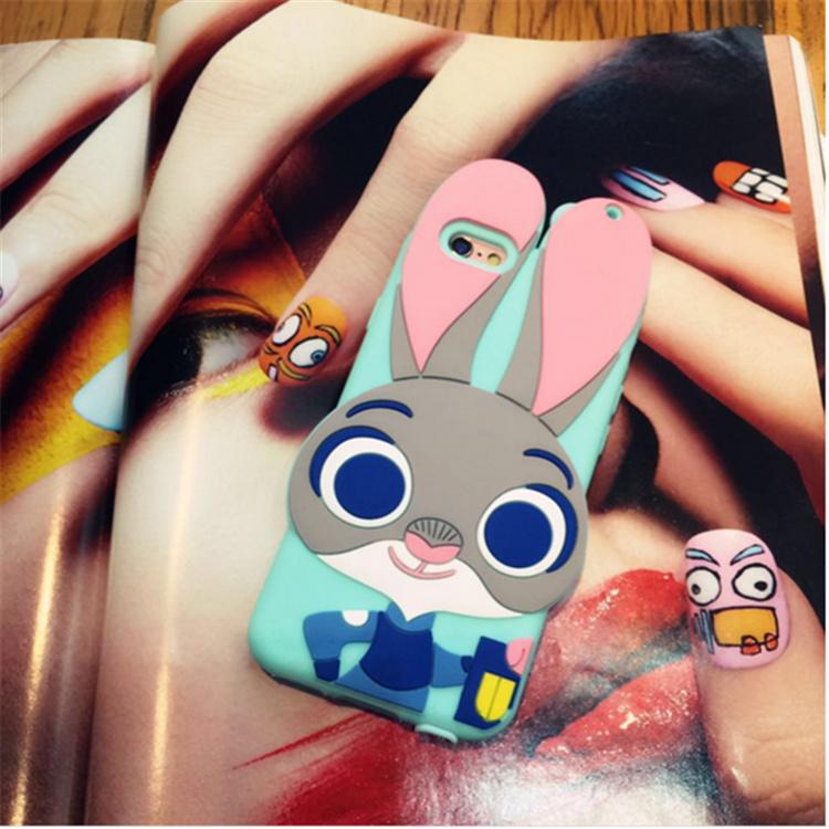 【iphone疯狂动物城朱迪兔子挂绳硅胶防摔壳】-配饰