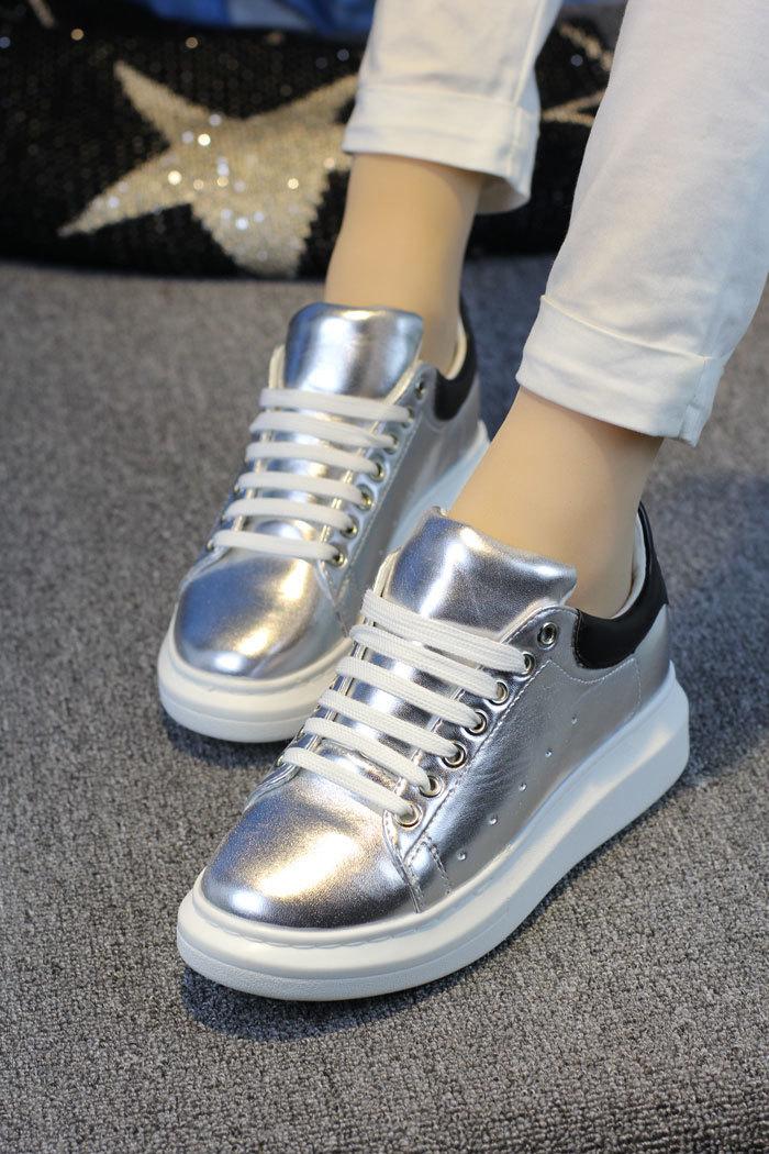 实拍!韩版休闲运动鞋女银色松糕鞋厚底板鞋女鞋