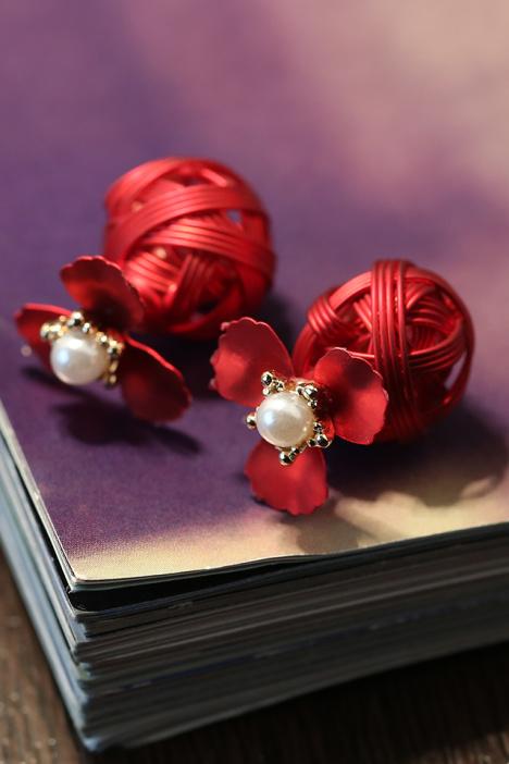 红色,小清新,复古,耳环,韩国