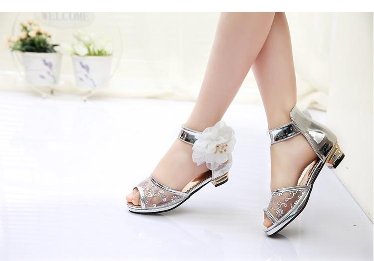 女童凉鞋2016夏季新款高跟小公主鞋鱼嘴花朵露趾花朵儿童凉鞋