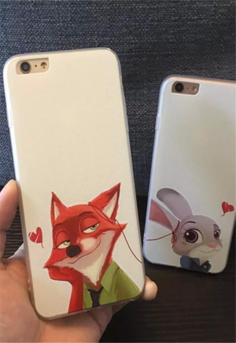【疯狂动物城朱迪尼克iphone6s/5s情侣手机壳挂绳】