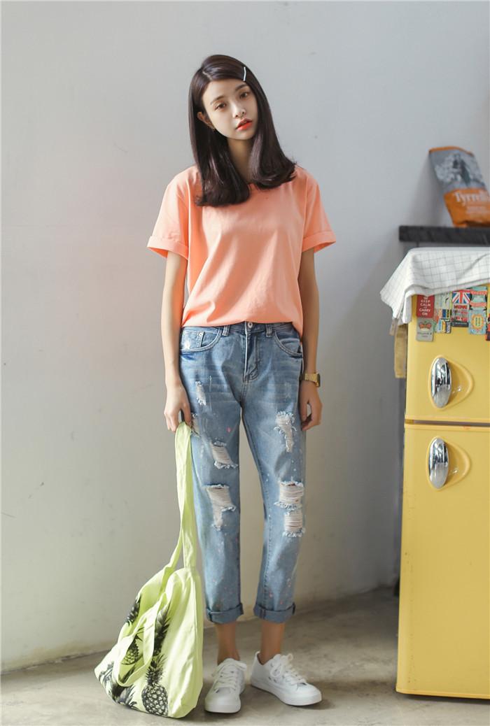 【夏季浅色宽松破洞哈伦裤牛仔裤】-无类目-裤子