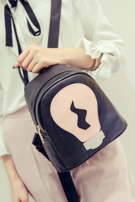 迷你双肩包女韩版潮小背包超小可爱电灯泡拼接撞色个性春新款