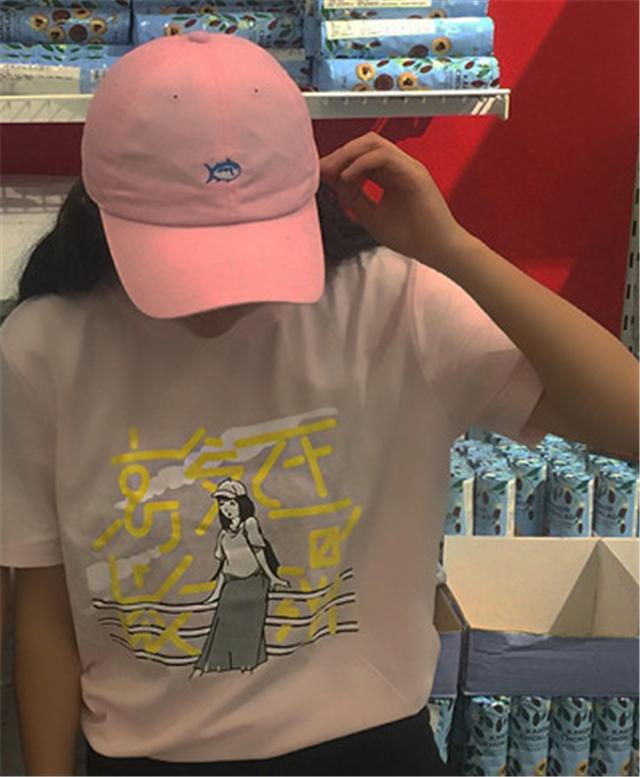【冰淇淋色二次元手绘少女字母印花短袖tee闺蜜装】