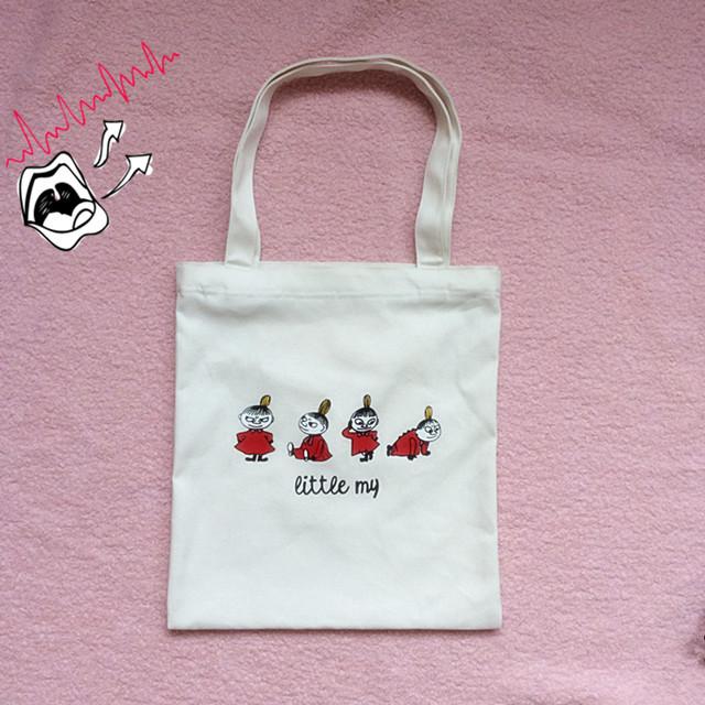 新款原创小清新文艺单肩帆布袋女 韩国原宿拉链环保袋学生布包 包包尺