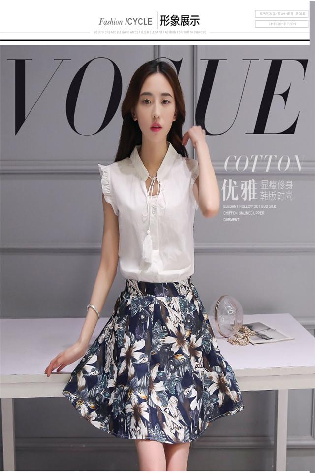 2016夏新款小香风时尚印花a字连衣裙显瘦气质两件套图片