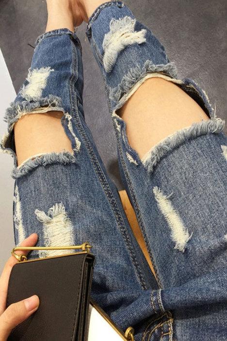 芭芭2016夏季新款几何大破洞磨边水洗牛仔裤