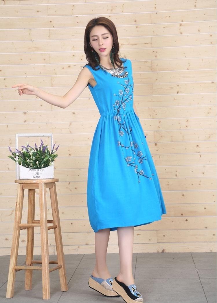 中国风中长款复古手绘纯色棉麻连衣裙