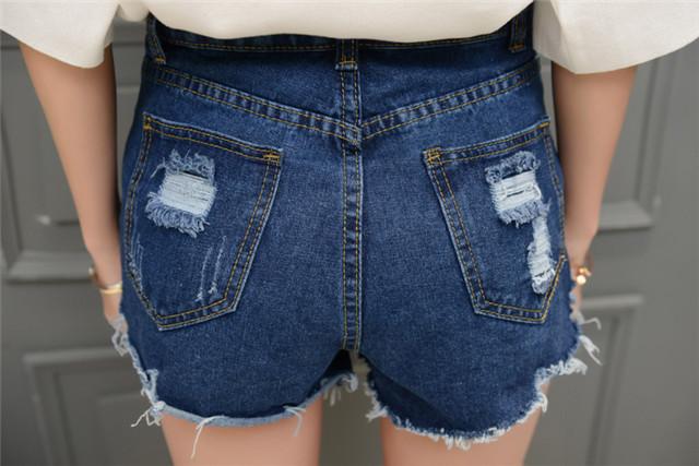 【背影冰丝针织上衣+重工牛仔短裤套装】-衣服-服饰