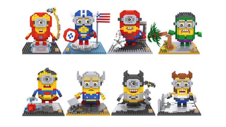 loz积木小颗粒拼装玩具钢铁侠超人蜘蛛侠小黄人 男孩女孩益智