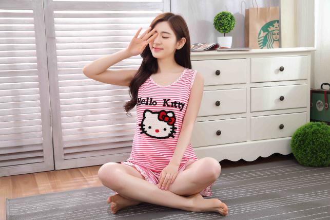 【超萌】~ 韩国初夏可爱kitt两色背心睡衣套装
