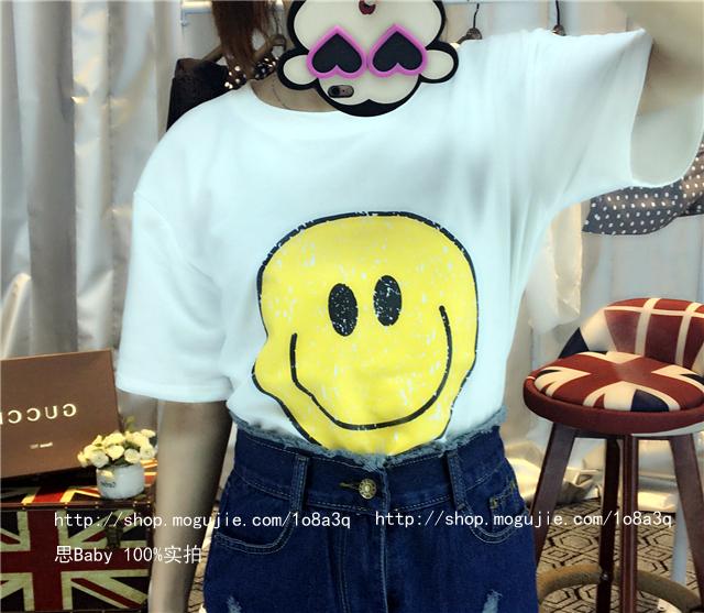 【【思baby】萌萌哒~阳光笑脸休闲短袖t恤】-衣服-鞋