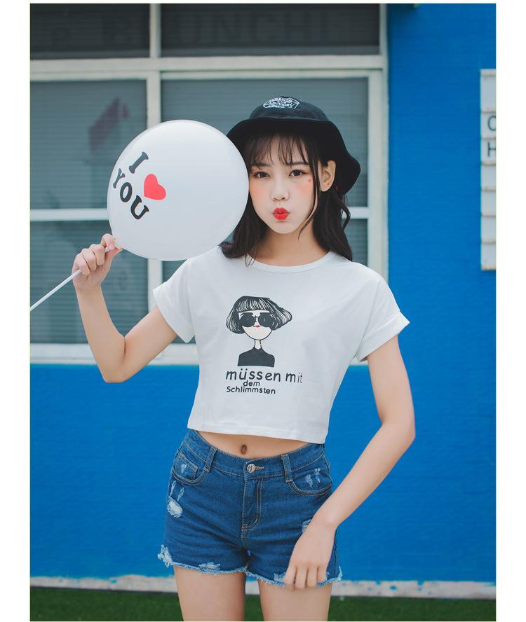 新款夏装小女孩印花短款性感t恤