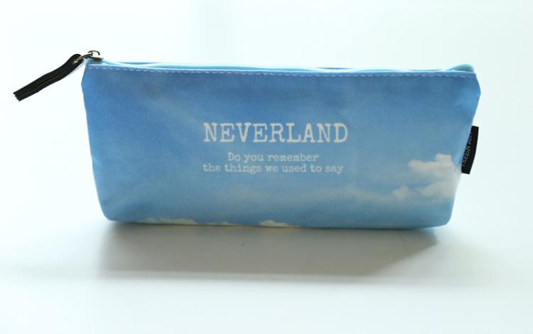 蓝天白云自然系 天空 倒梯形帆布拉链笔袋文具盒