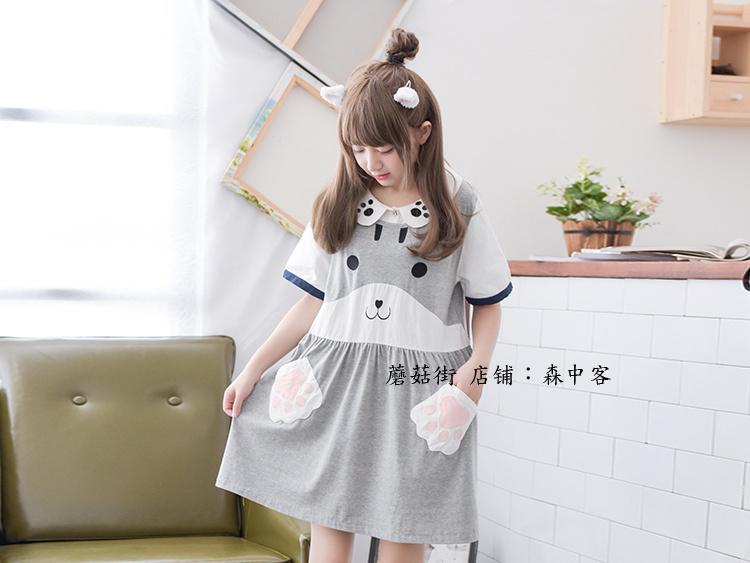 2016夏装新款日系清新学院风可爱少女娃娃领软妹短袖连衣裙