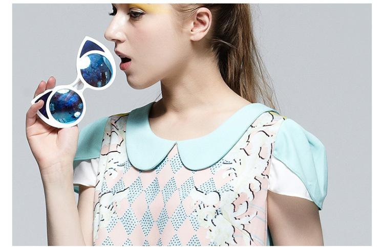马克华菲女装夏装新款可爱娃娃领糖果色省心连衣裙 女潮