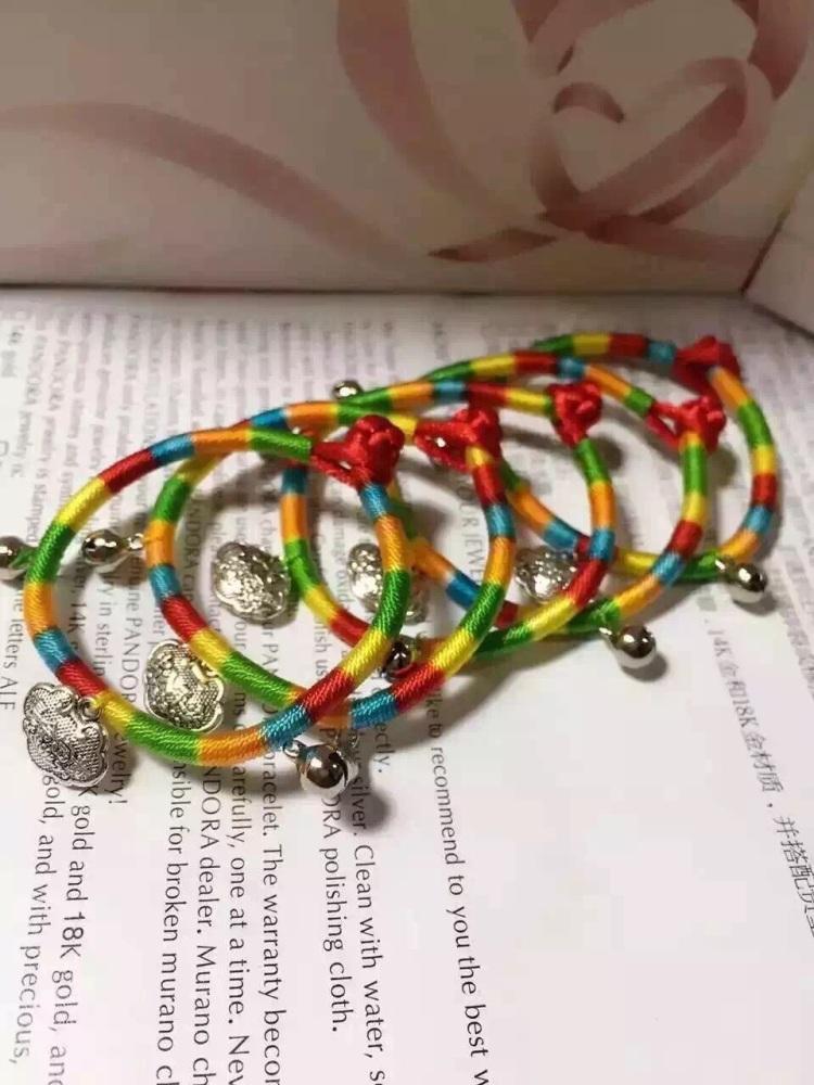 端午节儿童五彩线手链[爱心],纯手工编织五彩线平安锁,辟邪保平安,可