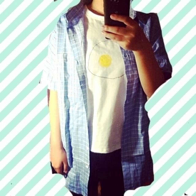 彬2015夏季新款韩表情手绘荷包蛋电插头闺蜜装套头短袖t恤女