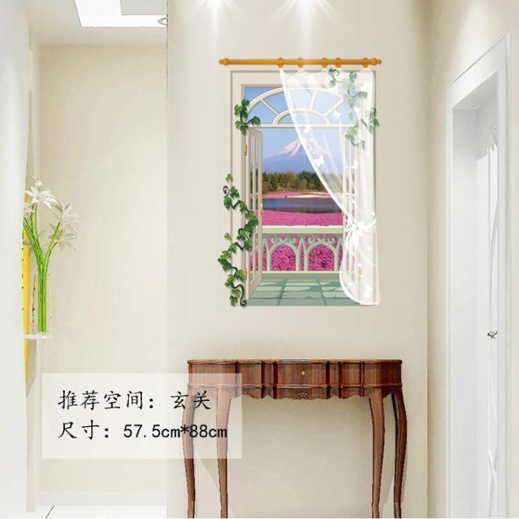 【风景假窗户 卧室客厅沙发玻璃背景墙贴画】-家居