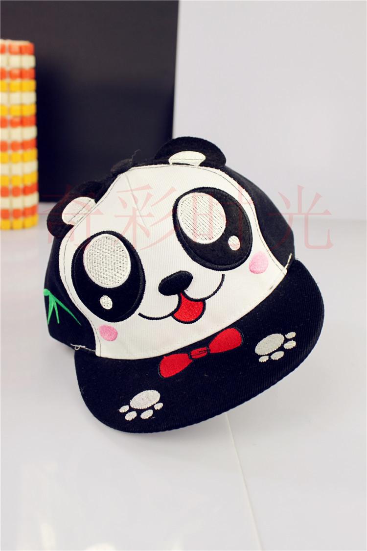 新款卡通小熊猫平沿嘻哈帽