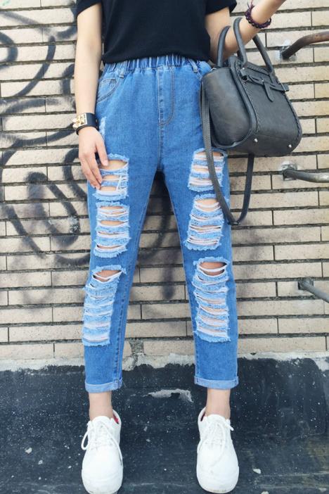【超级破洞牛仔裤】-衣服-裤子