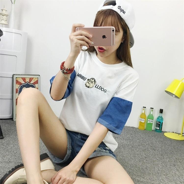 韩国ulzzang原宿bf少女刺绣t恤】-衣服