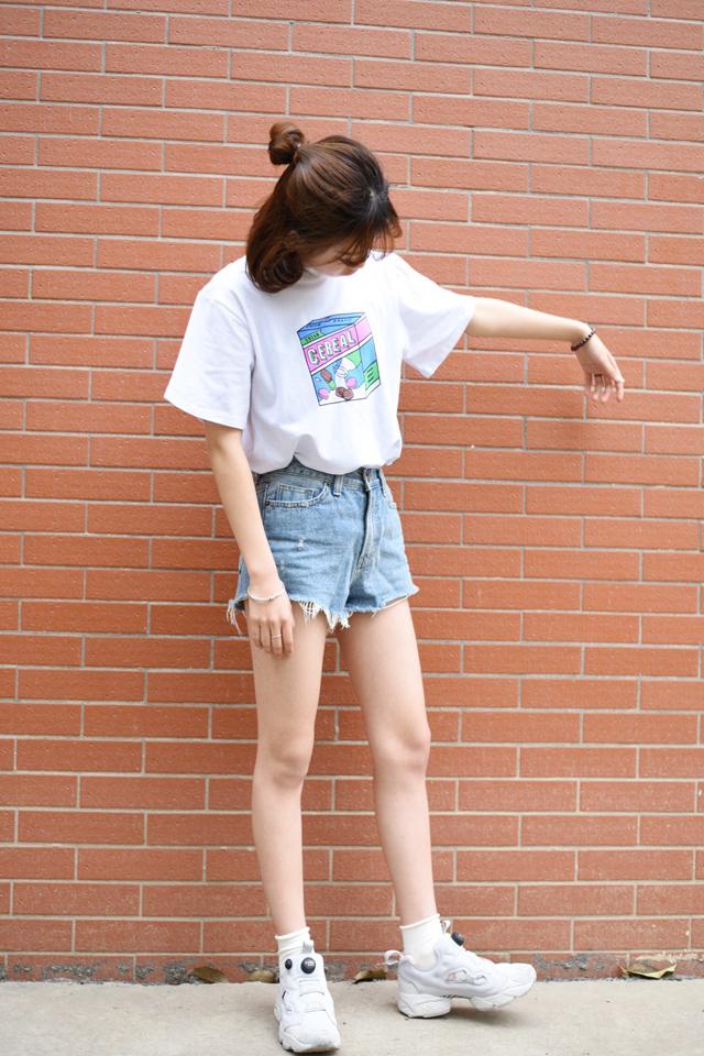 【ulzzang原宿风牛奶饼干盒子印花圆领t恤】-衣服-鞋