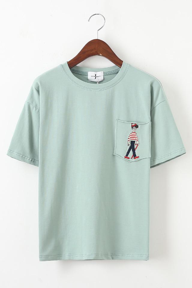 商品描述 简约基本款  刺绣卡通版的t恤衫,搭配小脚裤,长裙,短裙,都