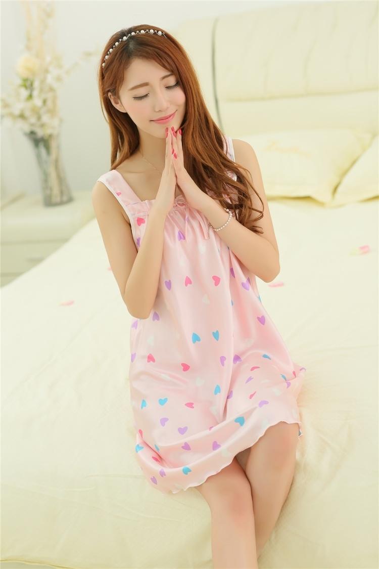 夏季新女式吊带丝绸睡裙可爱公主无袖丝质可爱少女甜美睡衣家居服