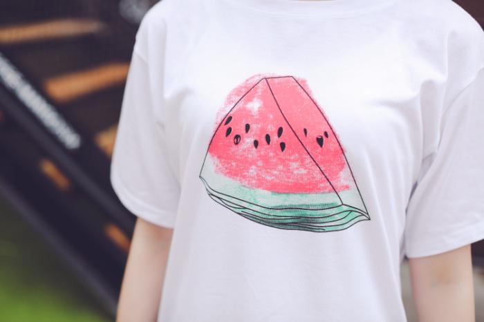 原宿风小清新西瓜水果短袖t恤