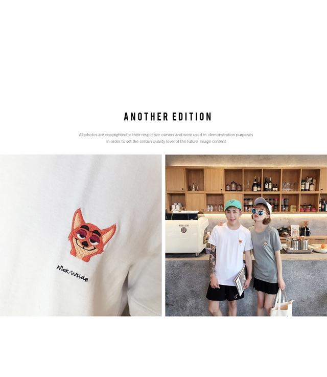 【▲独立工厂▲夏季疯狂动物城绣花情侣t恤】-衣服
