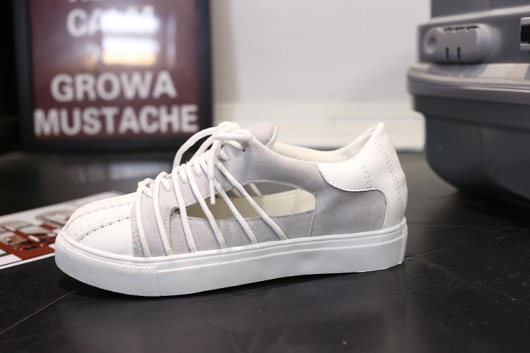 【个性鞋带韩版时尚小白鞋新款镂空贝壳头运动鞋】