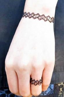 (送项链戒指)原宿风纹身手链项链戒指三件套