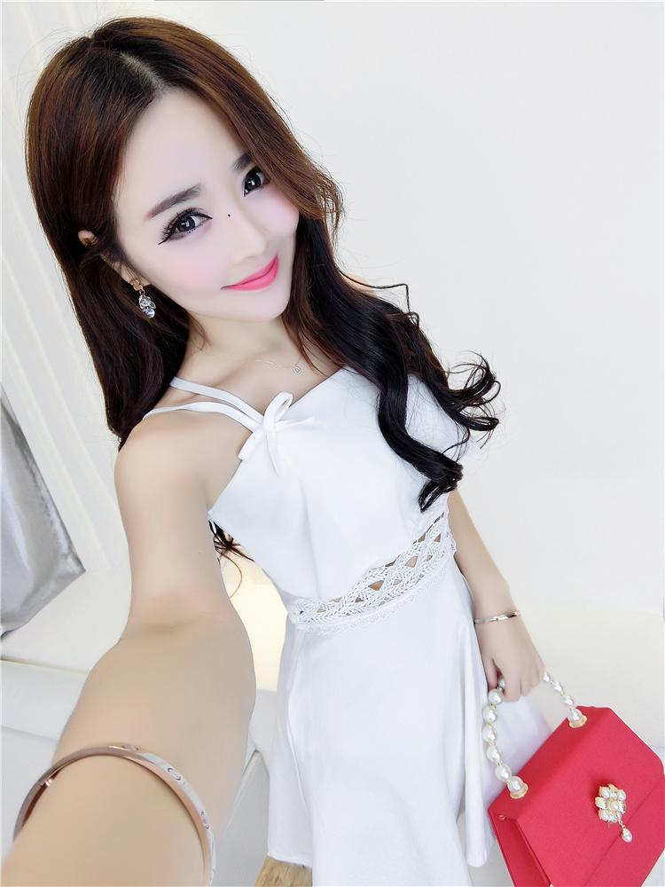 韩版夏季新款网红款性感露肩露背纯色吊带连衣裙,,精致唯美,优雅又