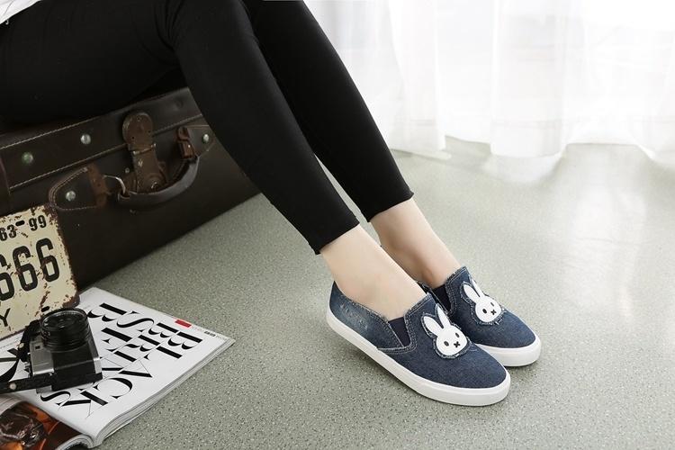 【小白兔图案牛仔帆布鞋】-鞋子-女鞋