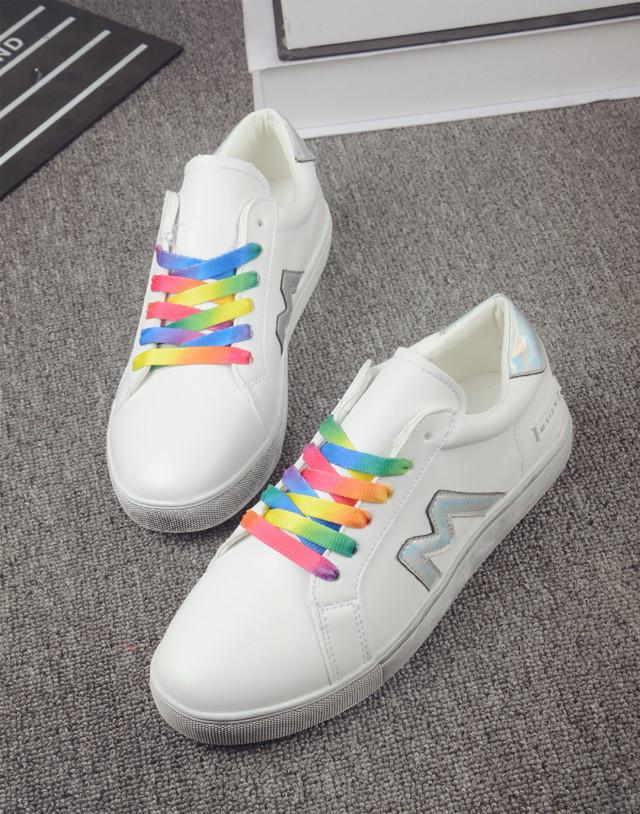【耐脏】新款彩色鞋带低帮运动小白鞋