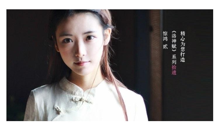 {小兰家}手绘复古旗袍改良盘扣棉麻印花连衣裙