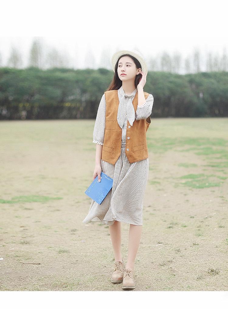 【春夏新品日系甜美可爱小清新文艺复古黄色咖色单绒
